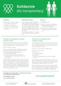 Plakat informacyjny na temat leczenia przeszczepami