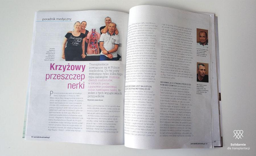 Krzyżowy przeszczep nerki artykuł w miesięczniku Zdrowie Solidarnie dla transplantacji