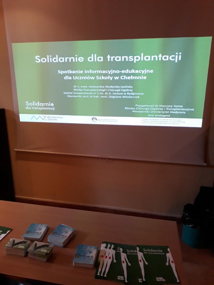 Chełmno Aleksandra Woderska Jasińska spotkania edukacyjne w szkołach na temat leczenia przeszczepieniem