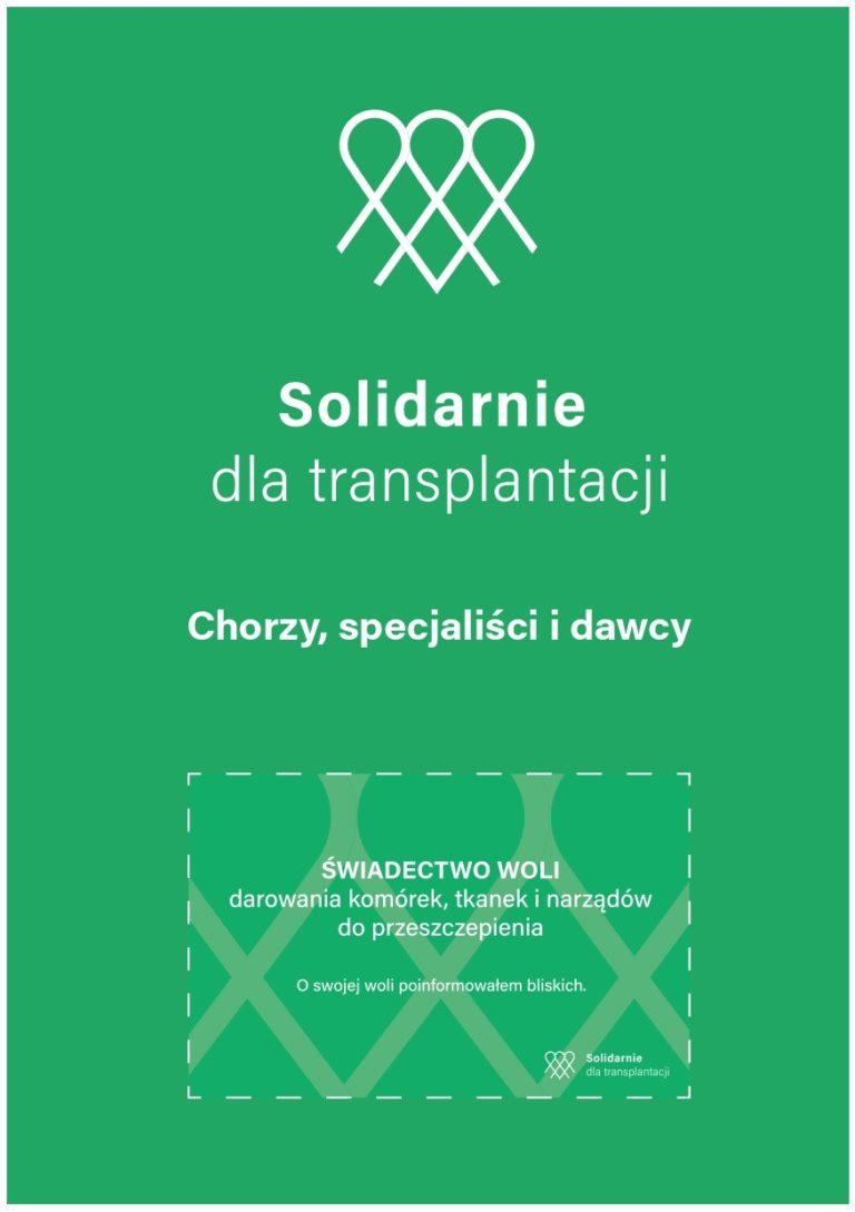 Ulotka Solidarnie dla transplantacji z kartą świadectwo woli